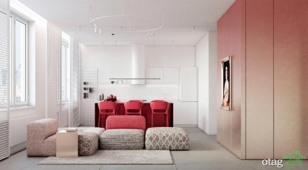 چیدمان دکور قرمز در آپارتمان مدرن با رنگ غالب سفید و طوسی